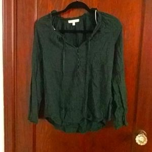 Emerald Green Button Long Sleeve Blouse